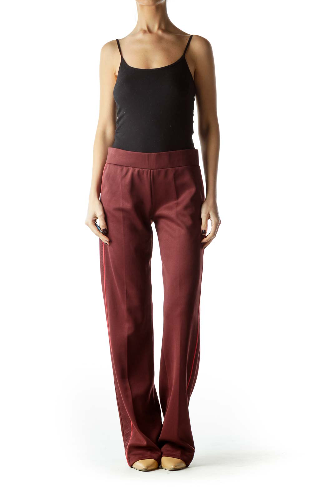 Burgundy Textured Sides Sports Pants