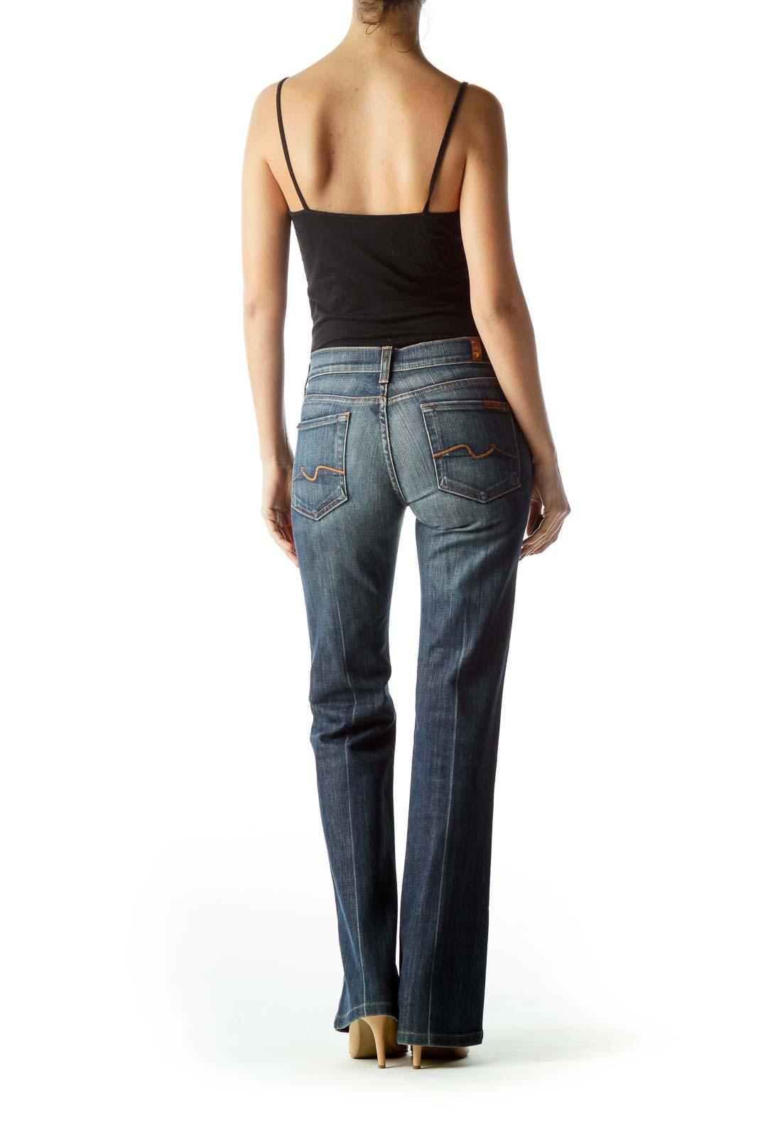 Blue Medium-Wash Flared Denim Jeans