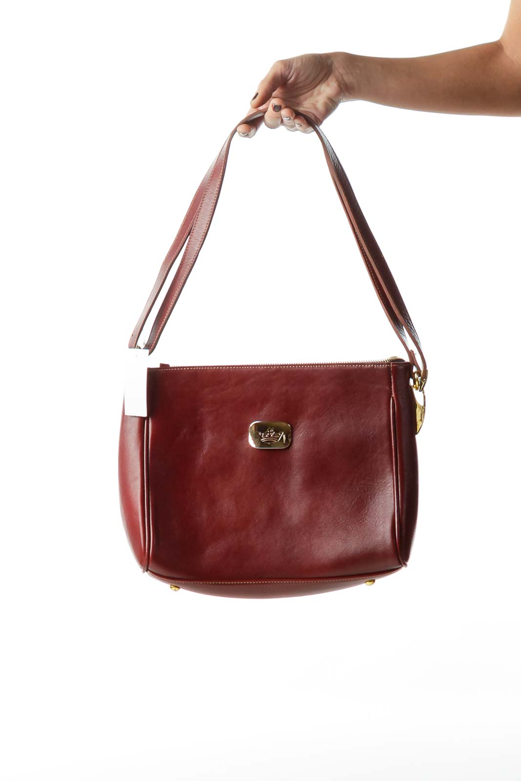 Burgundy Shoulder Bag with Gold Metal Accents