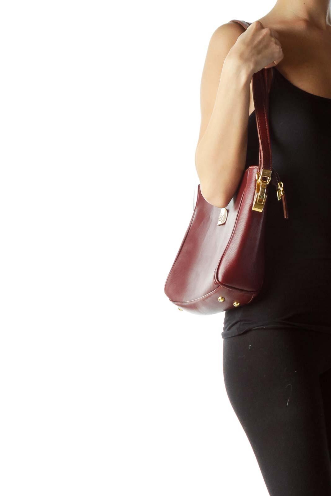 Burgundy Shoulder Bag with Gold Metal Accents