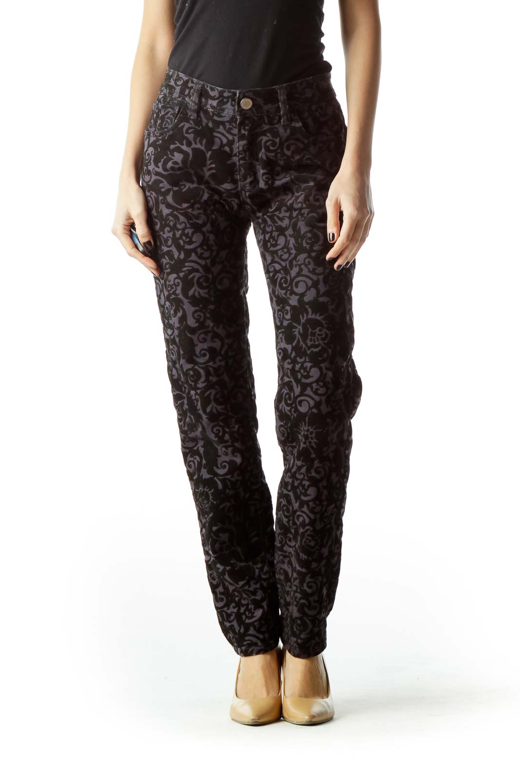Black Gray Velvet Textured Embossed Pants