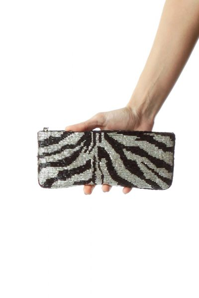 Black White Beaded Zebra Design Clutch