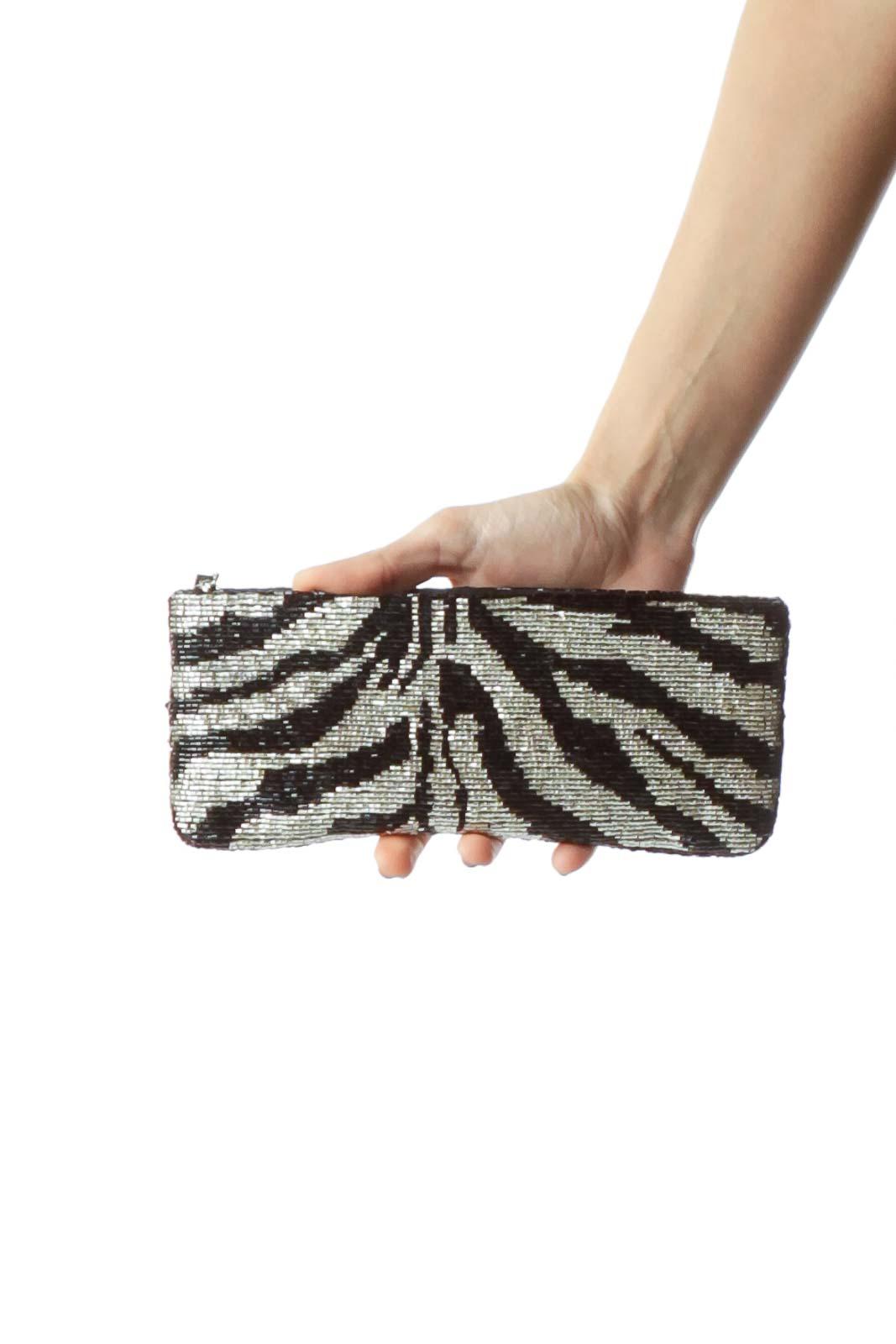 Black White Beaded Zebra Design Clutch