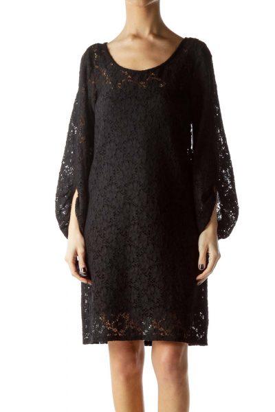 Black Knit Long Sleeve Dress with Slip