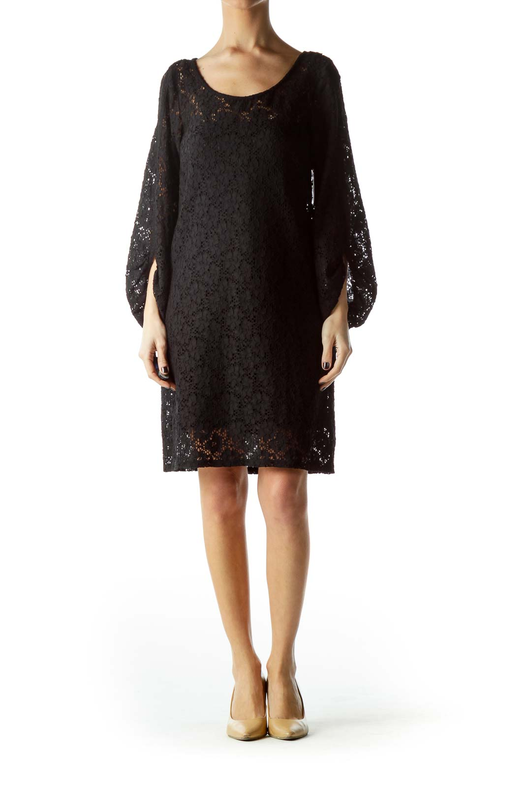 Black Knit Long Sleeve Dress with Slip