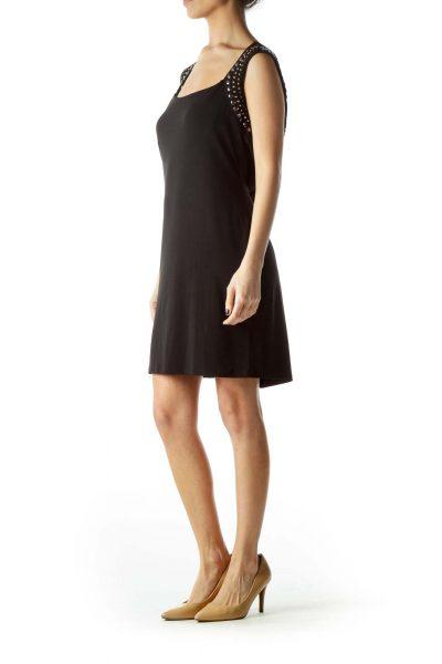 Black Stretch Metallic Neck Embellished Dress