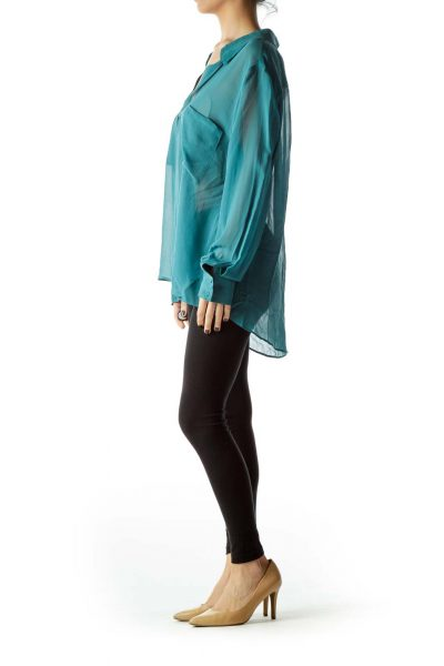 Teal Pocketed Collared See-Through Blouse