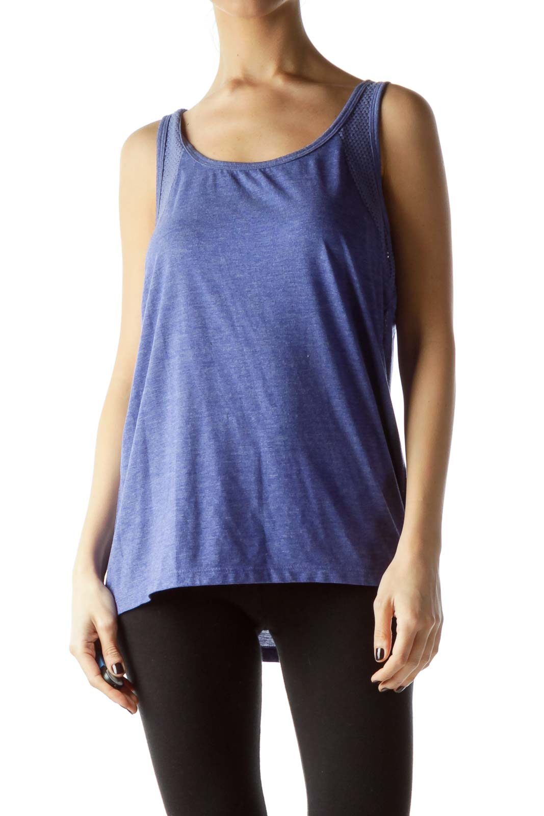 Blue Sleeveless Knit Cut-Out Design Yoga Top