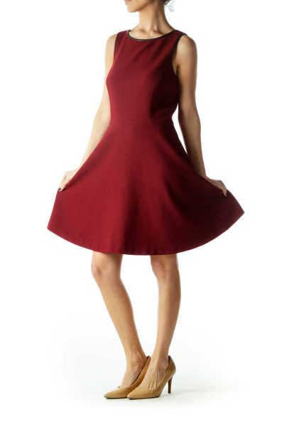 Burgundy Round Neck A-Line Knit Dress