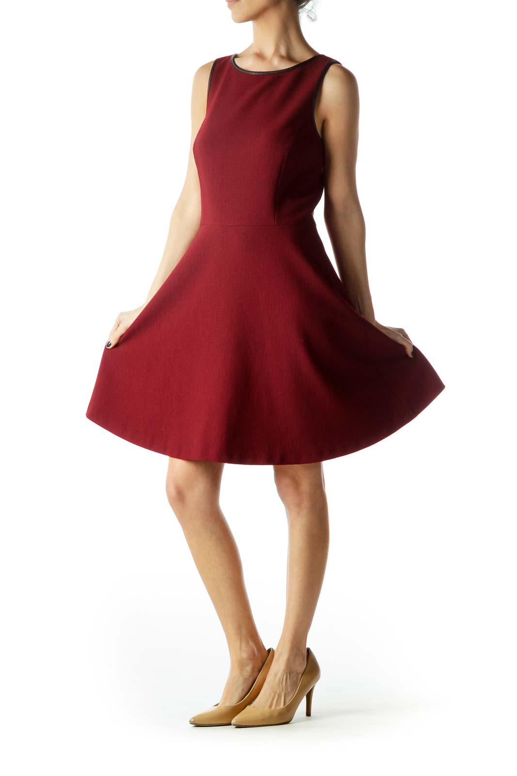 Burgundy Round Neck A-Line Knit Dress