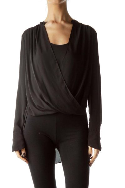 Black High-Low Long Sleeve Blouse