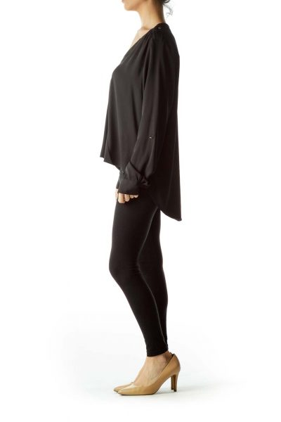 Black Metal Buttons Long Sleeve Blouse