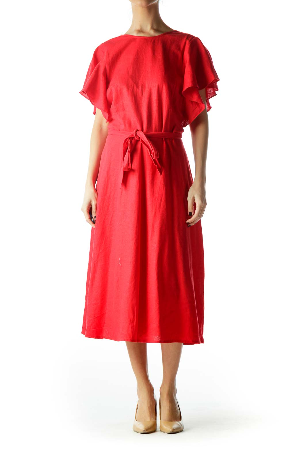 Red Flared Sleeves Day Dress with Belt