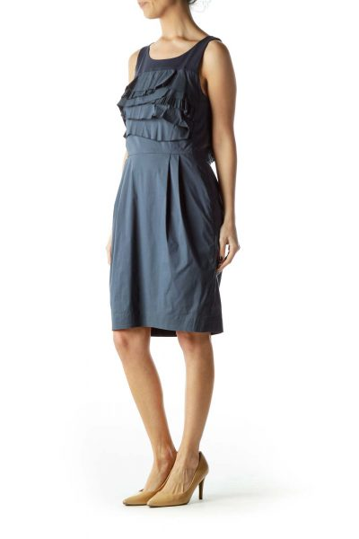 Blue Ruffled Chest Pocketed Work Dress