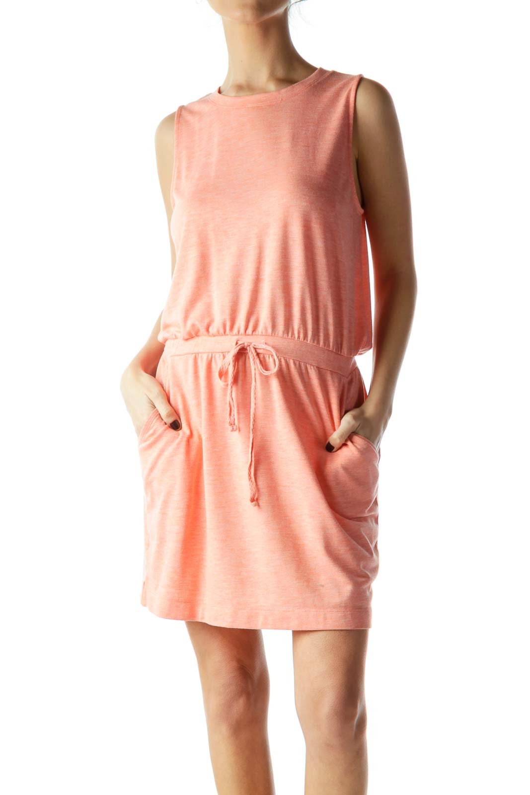 Peach Color Sleeveless Jersey Dress