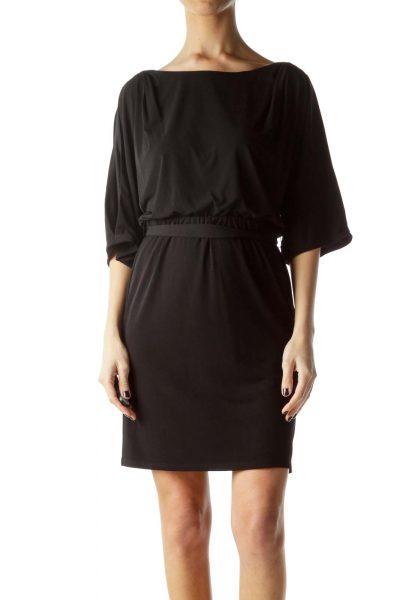 Black Bat Sleeve Cut-Out Work Dress