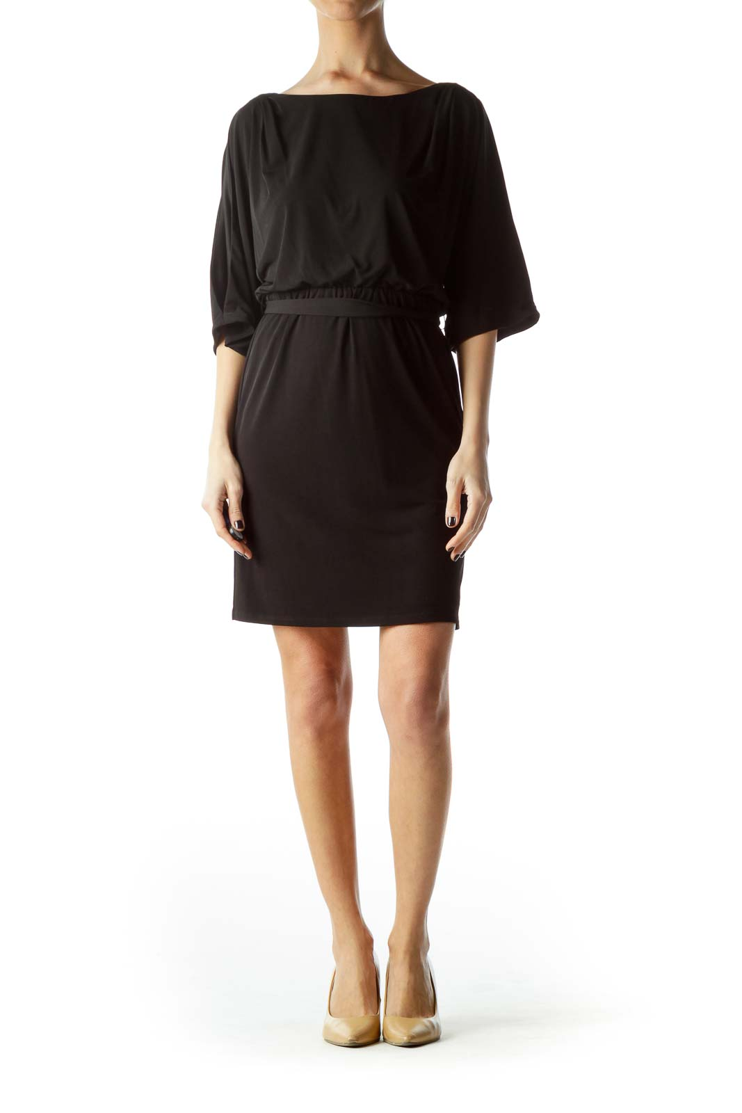 Black Bat Sleeve Cut-Out Work Dress