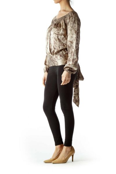 Brown 100% Silk Print Open Front and Back Top