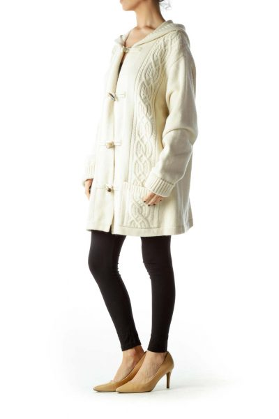 Cream Toggle Cable Knit Heavy Cardigan