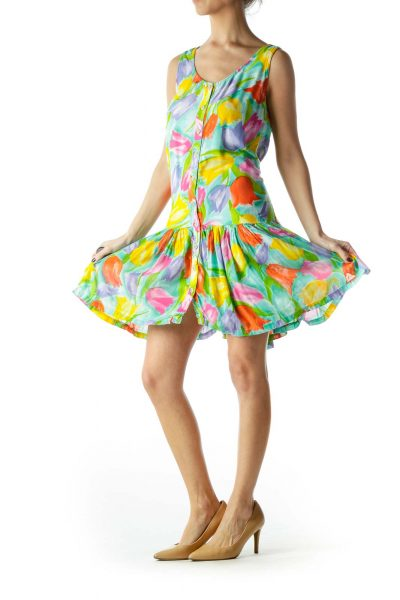 Multicolored Flower Print Day Dress