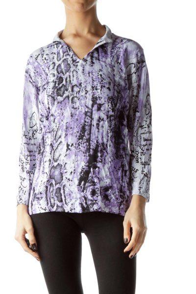 Purple Black Snakeskin Print Embellished Top