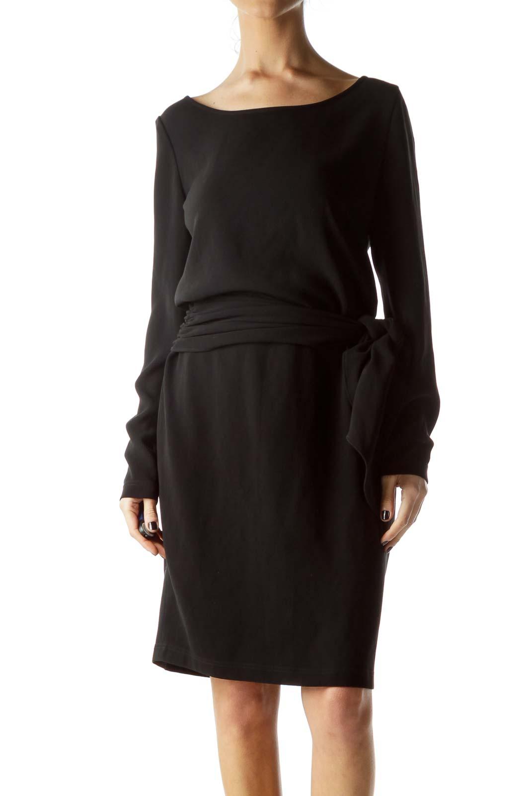 Black Round Neck Long-Sleeve Work Dress