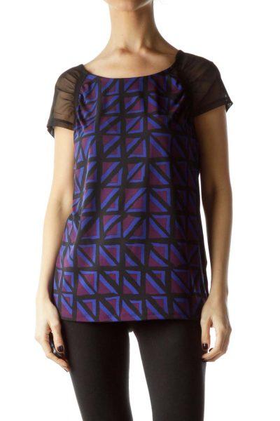 Black Violet Blue Geometric Print Blouse