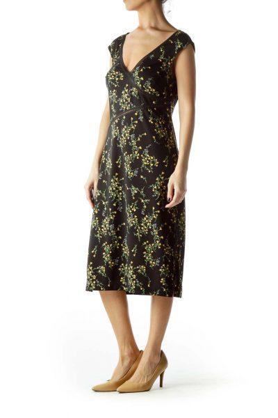 Black Yellow Flowers Print Day Dress