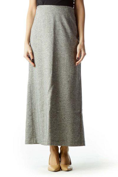 Gray Tweed Long Pencil Skirt