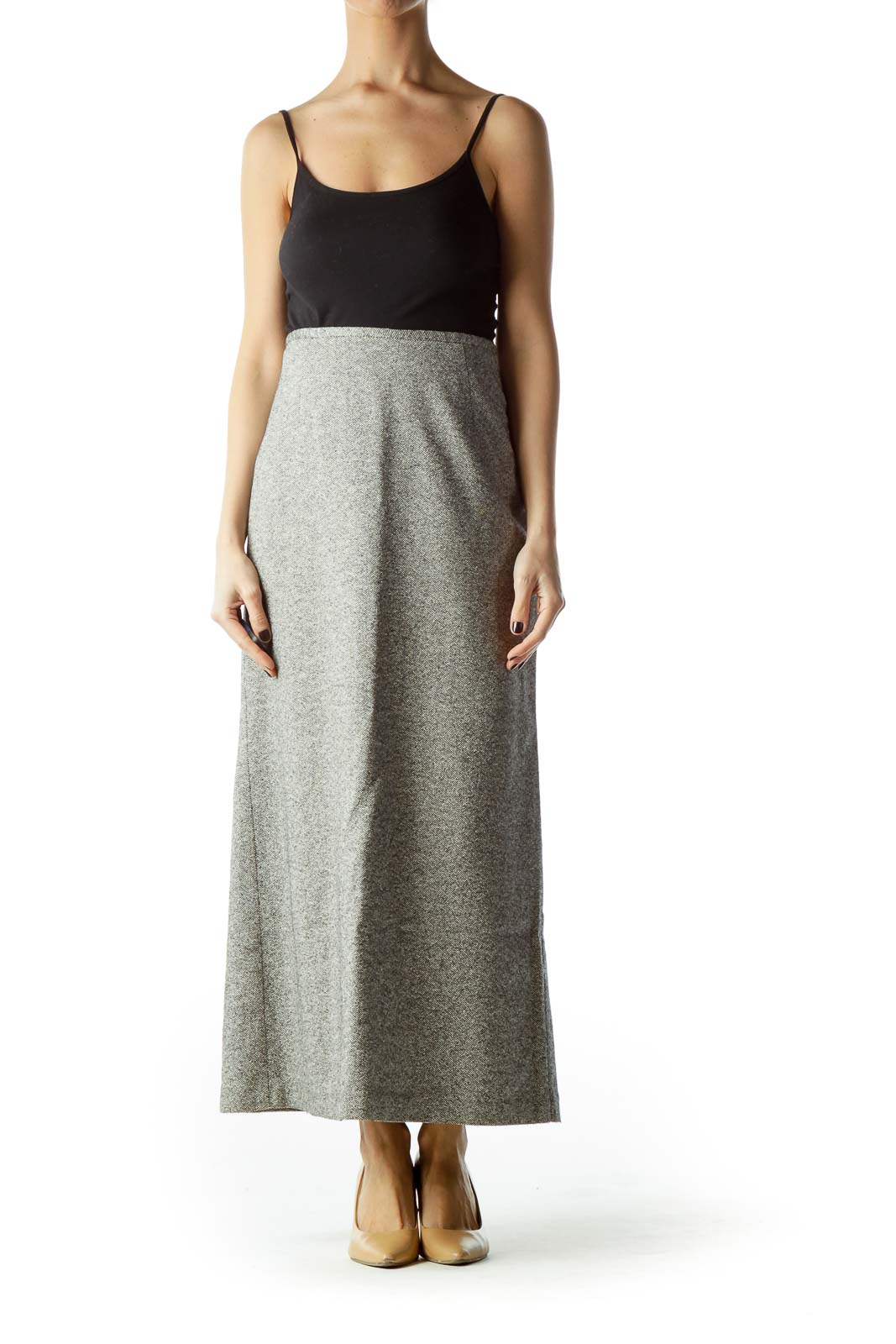 Gray Tweed Long Pencil Skirt