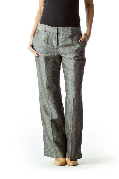 Gray Pleated Straight Leg Pants