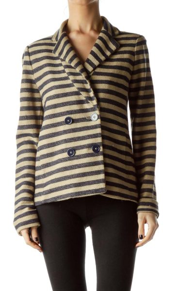 Beige Navy Blue Striped Knitted Texture Jacket