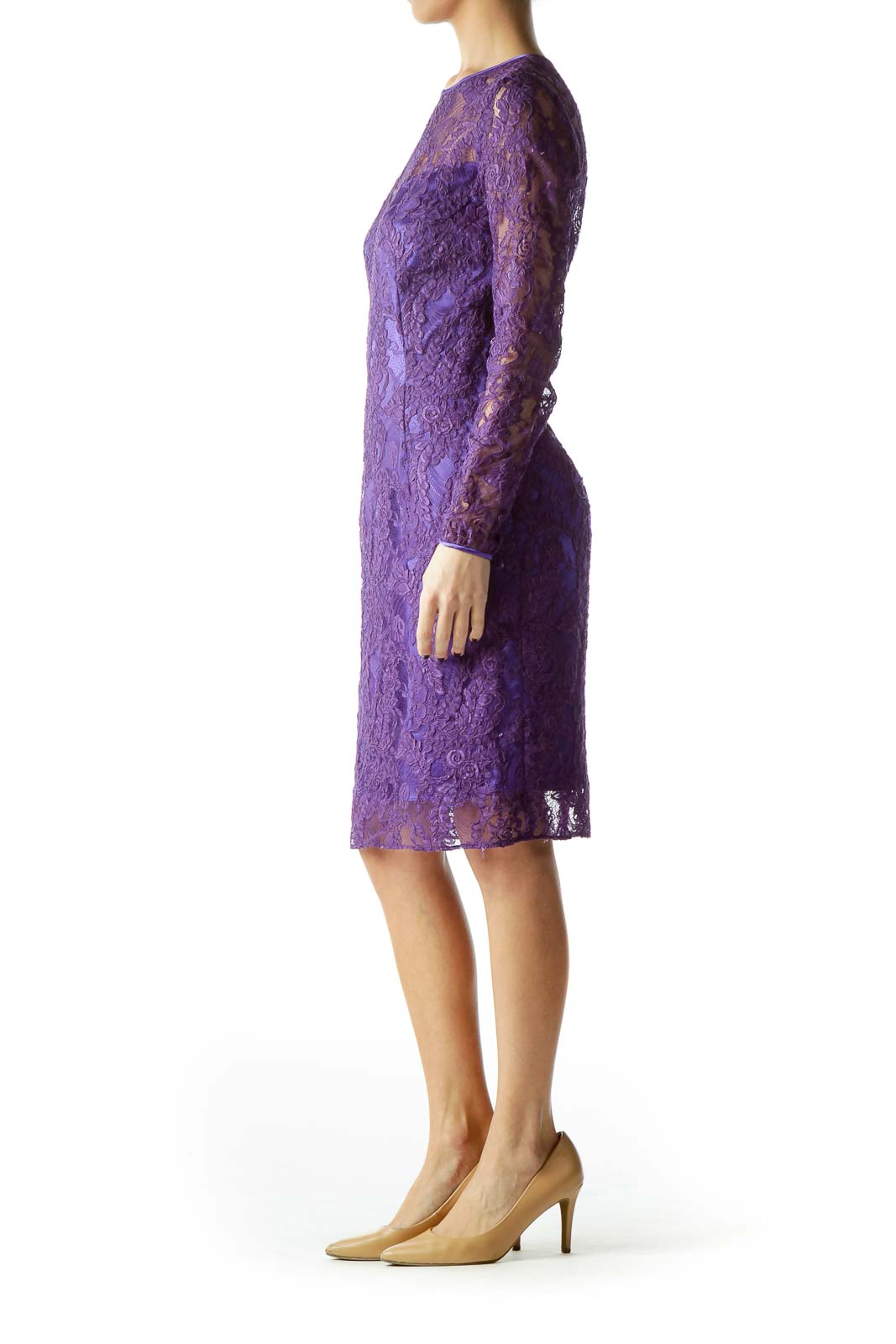 Purple Lace Fitted Dress with Slip