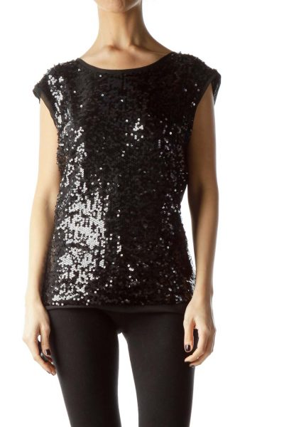 Black Front Sequined Sleeveless Blouse