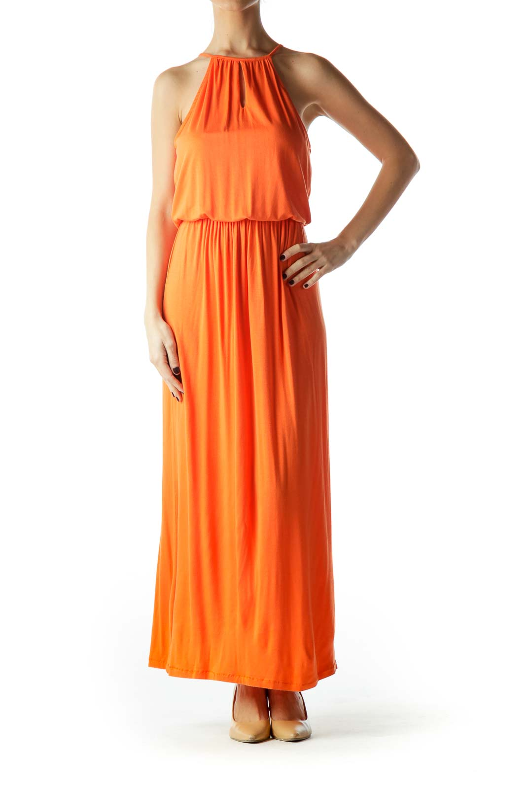 Orange Halter Neck Empire Waist Maxi Dress