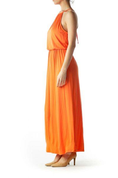 Orange Halter Neck Empire Waist Maxi Dress