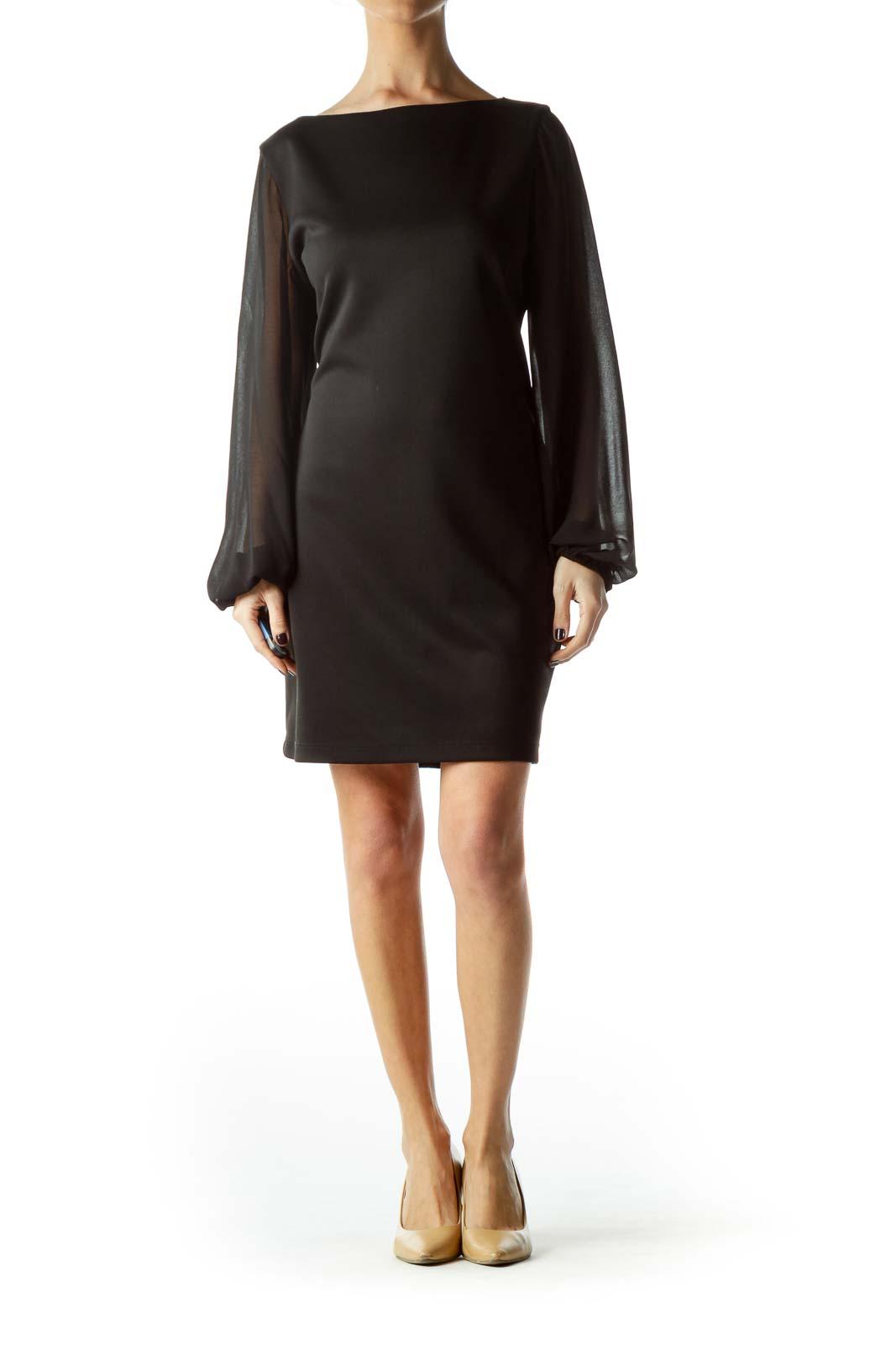 Black Dress with Long Sheer Sleeves