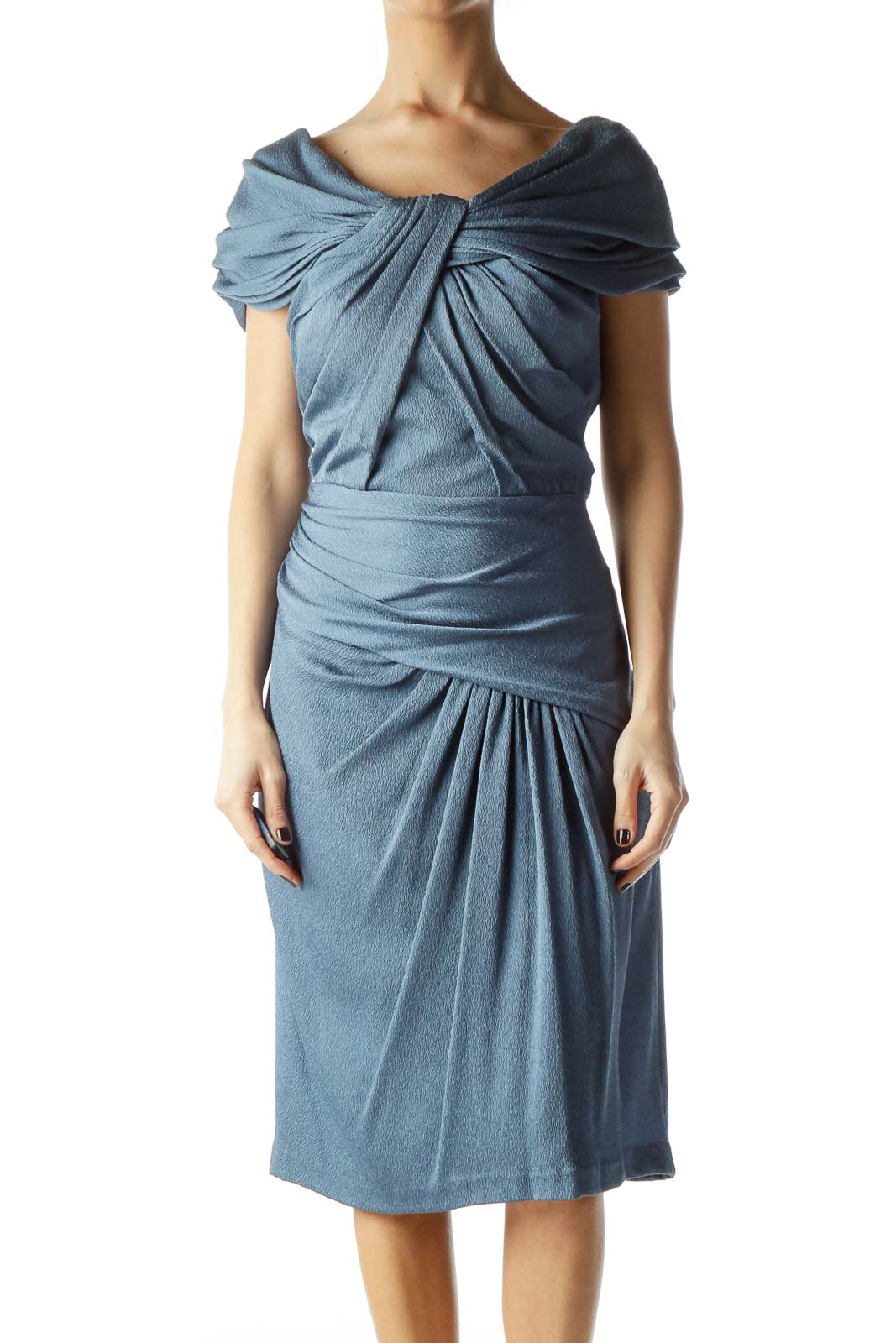 Blue Strapless Scrunched Dress