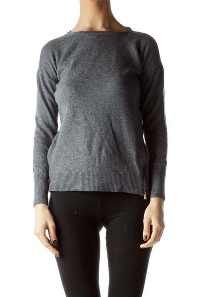 Gray Side Gold Zippers Sweater