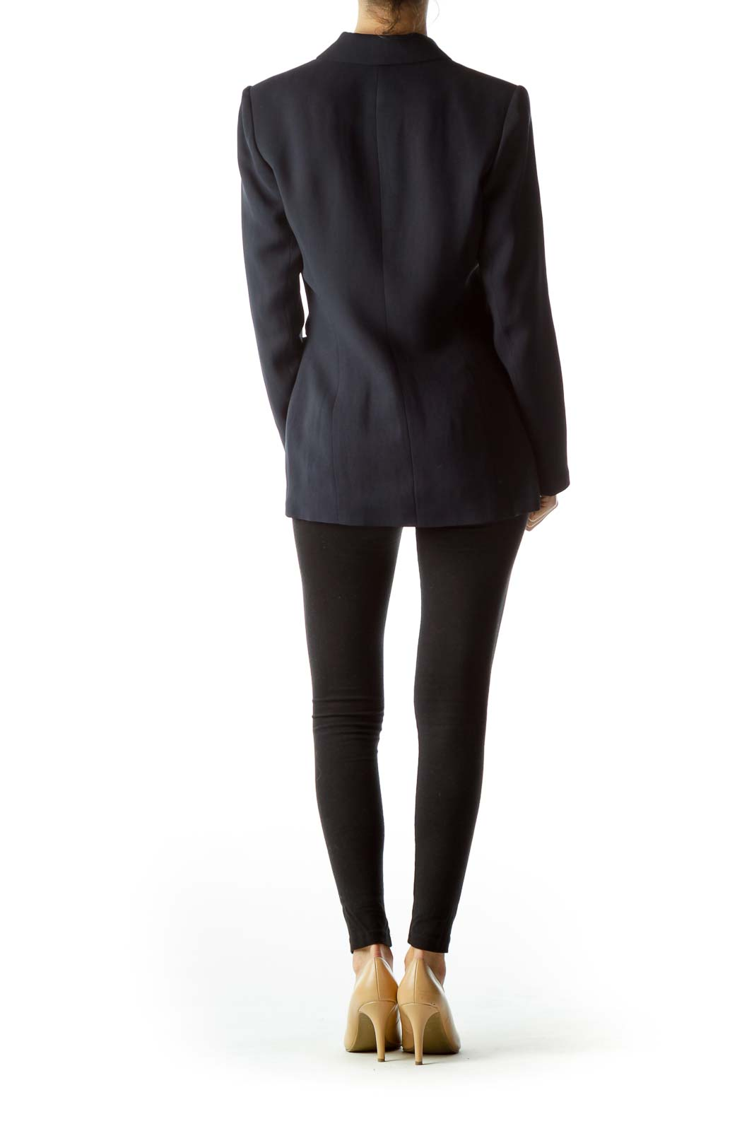 Navy Blue Buttoned Down Pocketed Blazer
