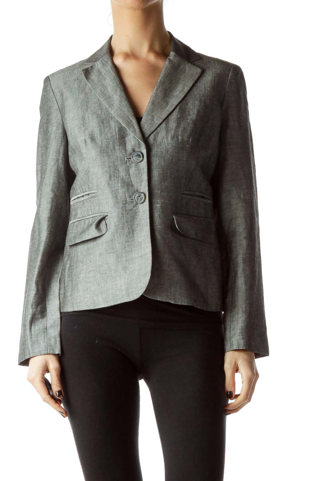 Gray Buttoned Pocketed Blazer