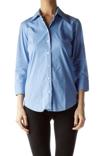 Blue Buttoned Down Collared Shirt