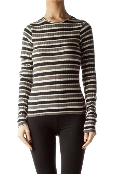 Black Gray Beige Striped Gold Thread Knit Top