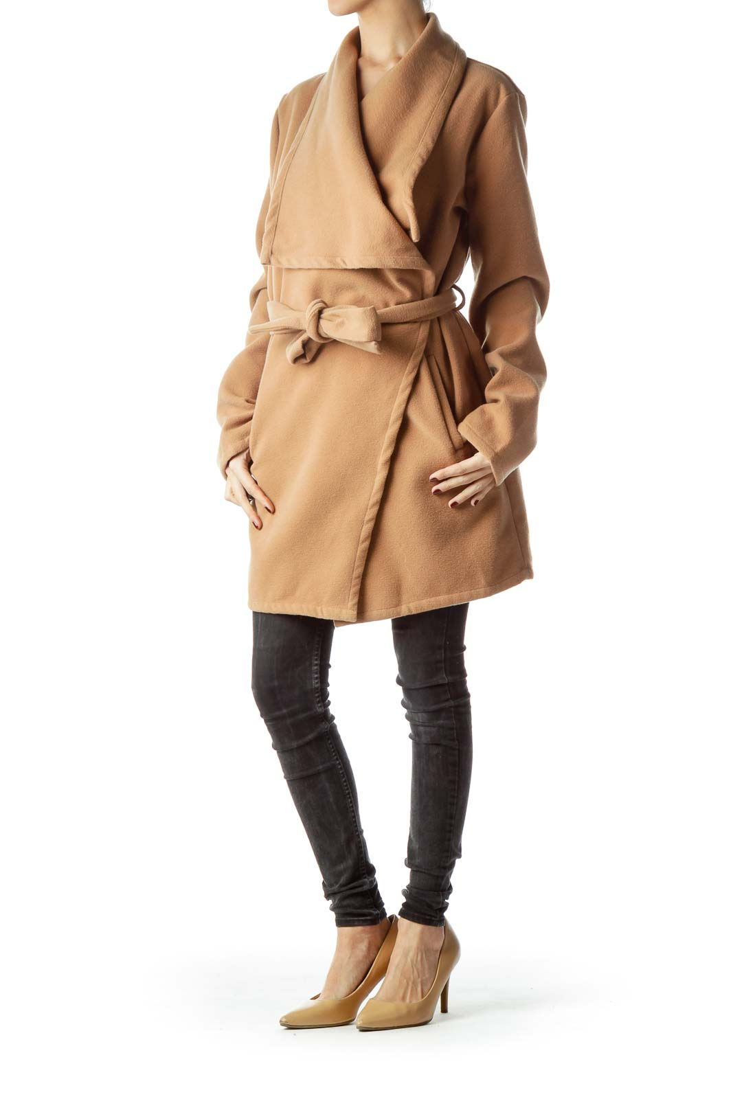Camel Brown Collared Long Belted Coat