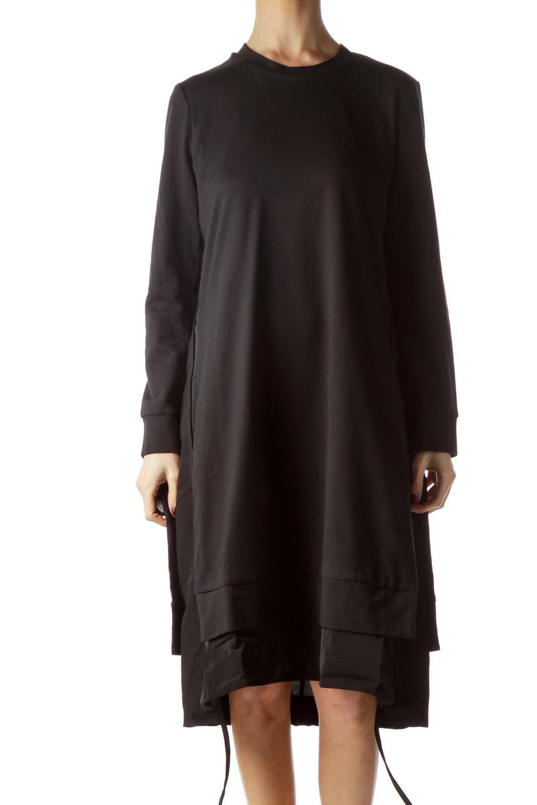 Black Round Neck Sweatshirt Dress