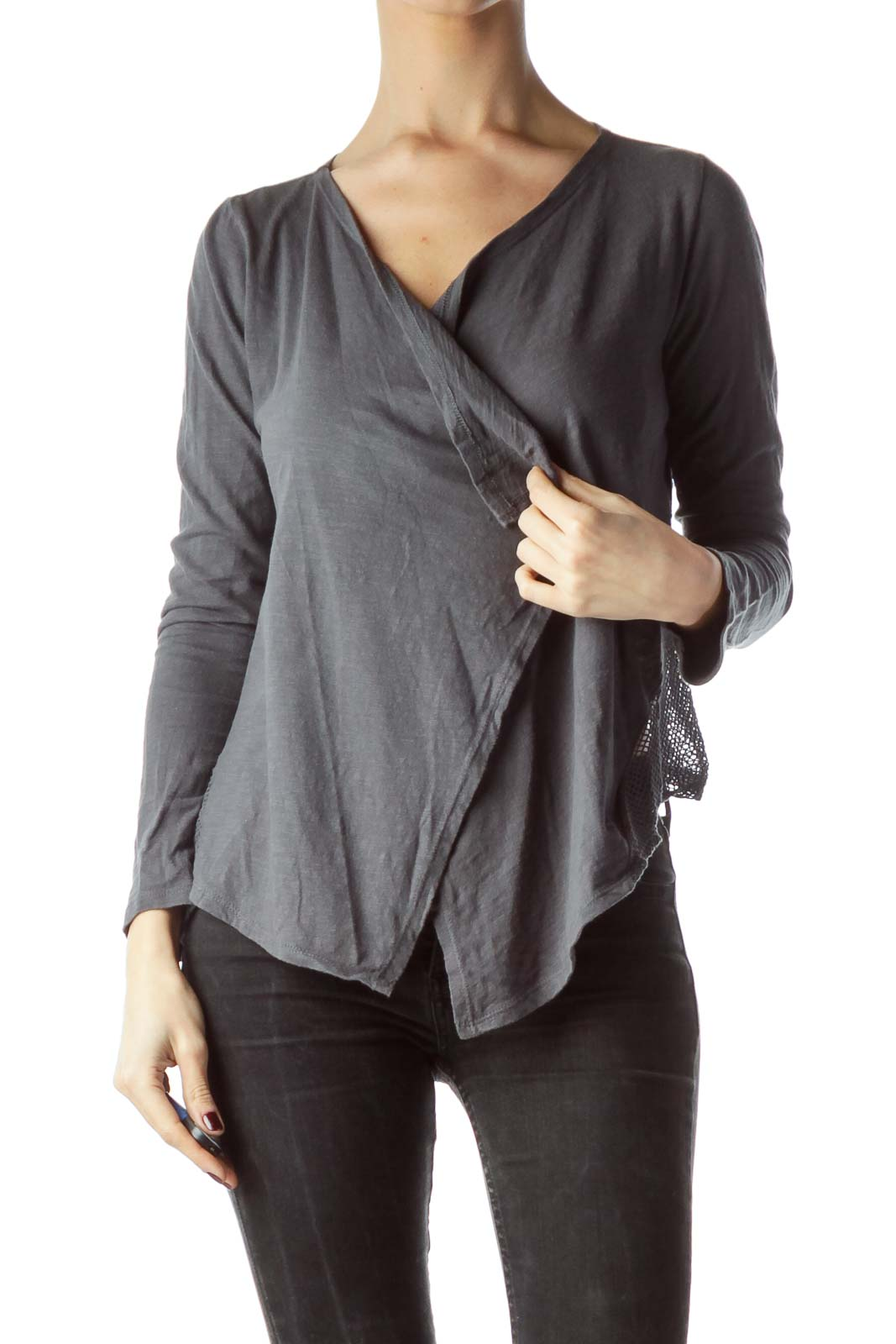 Gray 100% Cotton Back Net Bolero Knit Top
