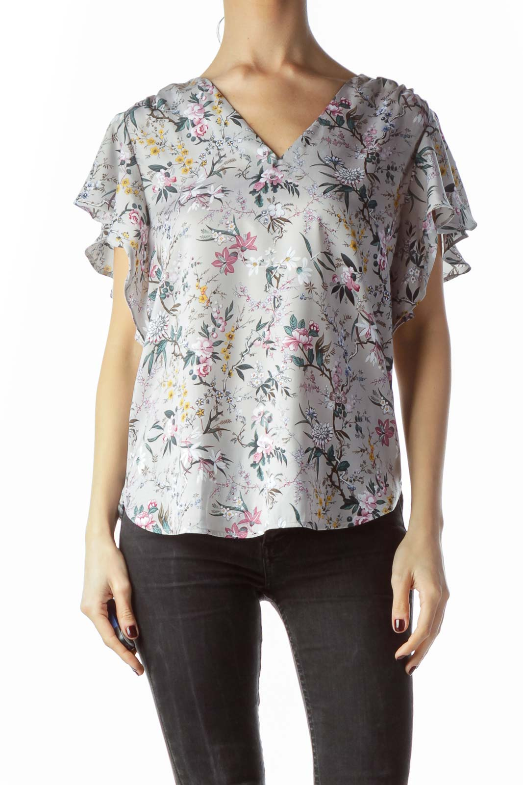 Gray Floral Print Flared Short Sleeves Blouse