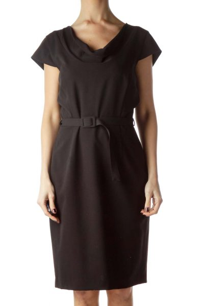 Black Cap Sleeves Belted Work Dress