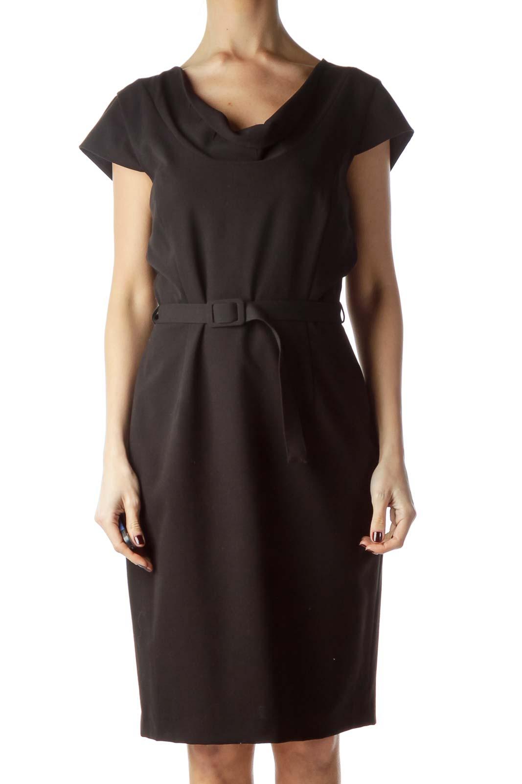 Black Cap Sleeves Belted Work Dress