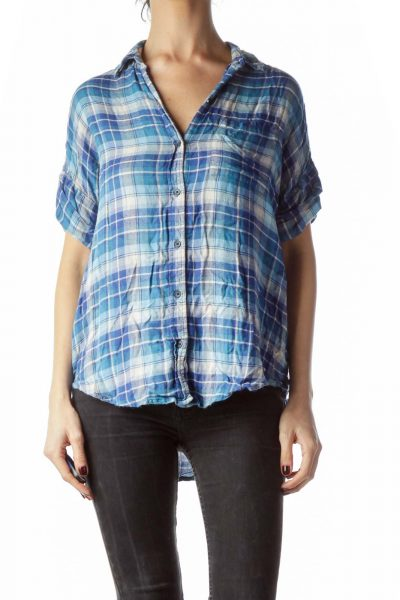 Blue Plaid Short Cuffed Sleeves Shirt
